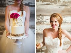 Beautiful fishtail braided wedding hairstyle and rosette wedding cake with gold sequin band.  See more at http://blog.myweddingreceptionideas.com/2014/08/glittery-pink-yellow-and-blue-styled.html  #mwri #wedding #hairstyles #cake