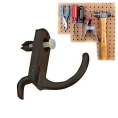 "Curved Hook Pegboard Holders, 12 Pack by Talon. $14.75. These strong nylon holders are virtually unbreakable, and will not fall off! Tool-free mounting in any direction. To remove, use a Phillips screwdriver.  Technical Details: 12 Curved Hooks Tool-free mounting in any direction. To remove, use a Phillips screwdriver. Fits 1/4"" pegboard holes  What's in the Box? (12) Curved Hooks"
