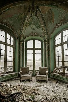 ...What a magnificent room.  You can just see the darker images of the mountains outside.  Would love to have looked out of those windows.