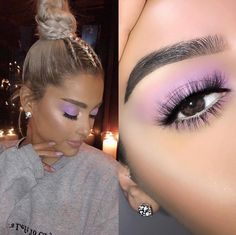 Recreation of makeup look 💜 I made my brows shape straight for this look 💜 Kiss Makeup, Cute Makeup, Glam Makeup, Pretty Makeup, Simple Makeup, Beauty Makeup, Makeup Looks, Hair Makeup, Hair Beauty