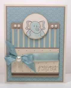 Precious Little One baby card  Blue and brown,s elephant