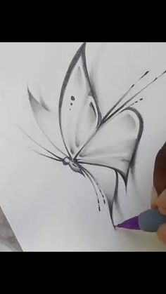 Easy Doodle Art, Doodle Art Drawing, Pencil Art Drawings, Art Drawings Sketches, Easy Drawings, Drawing Drawing, Sketch Inspiration, Butterfly Sketch, How To Draw Butterfly