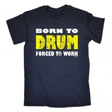 BORN TO DRUM – FORCED TO WORK (M – OXFORD NAVY) NEW PREMIUM LOOSE FIT T-SHIRT – slogan funny clothing joke novelty vintage retro t shirt top men's ladies women's girl boy men women tshirt tees tee t-shirts shirts fashion urban cool geek drummer kit sticks band music drums day for him her brother sister mum dad mummy daddy father mother birthday ideas gifts christmas present gift S M L XL 2XL 3XL 4XL 5XL – by Fonfella