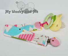 Pacifier Clip In Birds in Spring WITH Fabric by MyWoobyandMe, $7.50