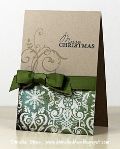 gorgeous by Danielle Daws Pretty paper, nice ribbon, christmas sentiment...easy to make, easy to mail