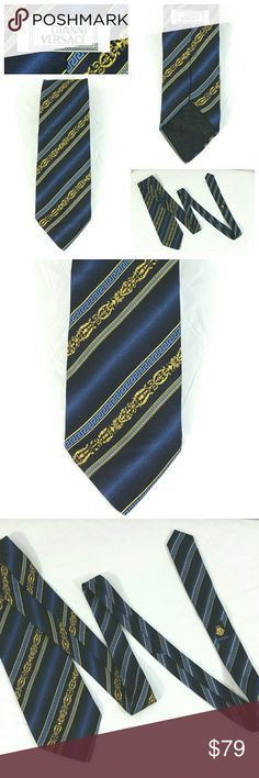 Gianni Versace Silk Tie Vintage 90s Gianni Versace Silk Tie Vintage 90s Geometric Striped Medusa Logo 61 x 3.5 inches.   *One very light flaw. See last photo for details. Overall very good condition. No holes. Smoke free, pet free environment. Versace Accessories Ties
