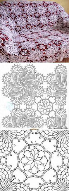 Очень красивый мотив для покрывала Crochet Shawl Diagram, Crochet Motif Patterns, Crochet Symbols, Crochet Squares, Filet Crochet, Irish Crochet, Crochet Designs, Crochet Tablecloth, Crochet Doilies