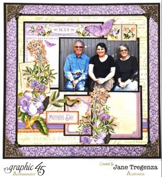 "May Double Layout (view 2) by 2015 Graphic  45 Ambassador  Jane Tregenza using ""Time to Flourish"" #graphic45 - Wendy Schultz ~ Graphic 45 Projects."