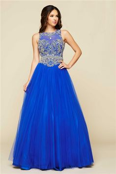 A Line Cut Out Open Back Long Royal Blue Tulle Beaded Prom Dress