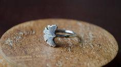 Ginkgo leaf minimal silver ring