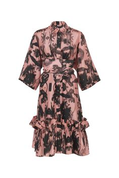 Short Pink Concrete Black Flowers, Travel Wardrobe, Shirt Sleeves, Ruffles, Concrete, Shirt Dress, Floral, Pink, Shirts