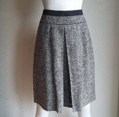 Vintage GUY LAROCHE Paris Kick Pleat Wool Tweed A Line Skirt M by funquejunque