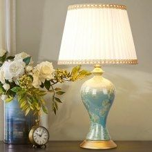 E27 Classic Ceramic Chinese Style Desk Lamp 220V Brass Table Lamps, Ceramic Table Lamps, Desk Lamp, Contemporary Fabric, Modern Contemporary, Creative Beds, Desk Light, Led Ceiling Lights, Chinese Style