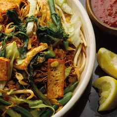 Mee Goreng green bean and tofu stir-fry; malaysian street food. Recipe by Yotam Ottolenghi