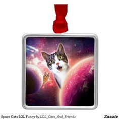 Space Cats LOL Funny Square Metal Christmas Ornament