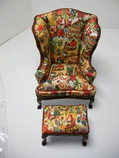 Christmas wing chair - miniature scale