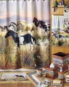 five piece horse themed rush hour bathroom set western