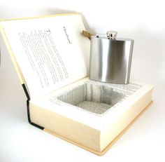 Hollow Book Safe w/ Flask