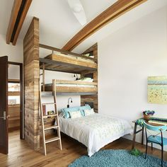 Get inspired by Rustic Bedroom Design photo by Wayfair. Wayfair lets you find the designer products in the photo and get ideas from thousands of other Rustic Bedroom Design photos. Bunk Beds Small Room, Modern Bunk Beds, Bunk Rooms, Bunk Beds With Stairs, Kids Bunk Beds, Small Rooms, Modern Bedroom, Kids Rooms, Bedroom Rustic