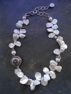 SALE White Keishi Pearl Necklace by kpottery on Etsy, $165.00