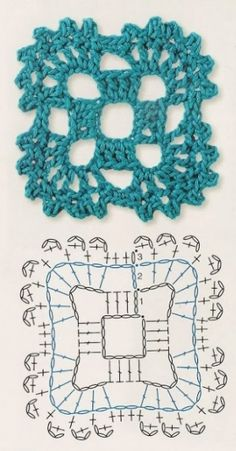 Point crochet motif carré avec diagramme