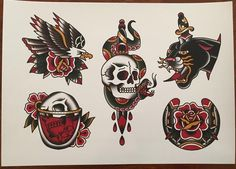 Traditional tattoo flash printed on linen paper Small Traditional Tattoo, Traditional Tattoo Flowers, Traditional Tattoo Old School, Traditional Flash, American Traditional, Traditional Tattoo Flash Art, Flash Art Tattoos, Time Tattoos, Retro Tattoos