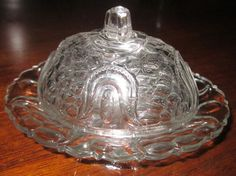 EAPG TULIP & HONEYCOMB toy butter dish Federal Glass Co.circa 1905
