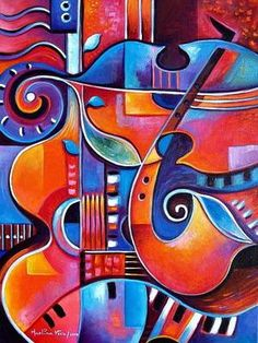Items similar to Hand Embellished Fine Art Giclee print on canvas of my original painting RED JAZZ Cubist Abstract Marlina Vera Gallery on Etsy Cubism Art, Jazz Art, Music Painting, Contemporary Abstract Art, Guitar Art, Hanging Art, Painting Inspiration, Art Lessons, Pop Art