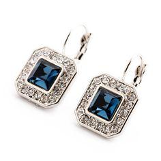 New Blue Geometric Rhinestone Crystal Drop Earrings For Women Trendy Jewelry Elegant Earrings Bijoux Wholesale