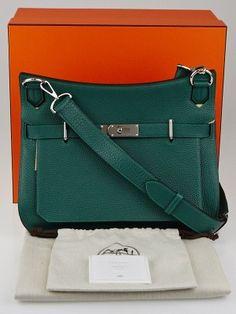 c5aaf4e558 Hermes 34cm Malachite Clemence Leather Palladium Plated Jypsiere Bag