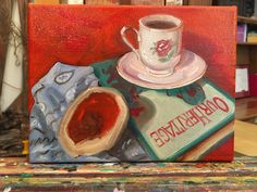 A little in progress photo from the easel today: #originalart #oilpainting #wip #tea #buttertart #books