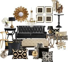 """""""Black and Gold Living Room"""" by chloeg01 on Polyvore"""