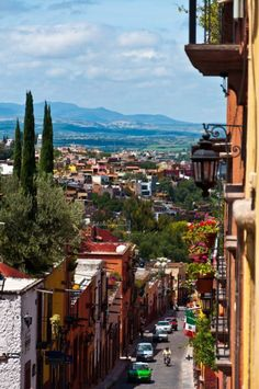 Looking down the street in San Miguel de Allende, Mexico