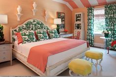 Can't tell what I like more: all the coral, that headboard, or those end stoools (or all three)!