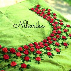 Call/whatsapp 9035330901 for hand worked kurti/dress materials customisation. Zardozi Embroidery, Hand Embroidery Dress, Embroidery On Kurtis, Kurti Embroidery Design, Hand Embroidery Videos, Embroidery On Clothes, Embroidery Flowers Pattern, Embroidery Works, Flower Embroidery Designs