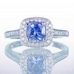 18 Karat Gold Cushion Cut Medium Blue Ceylon Sapphire