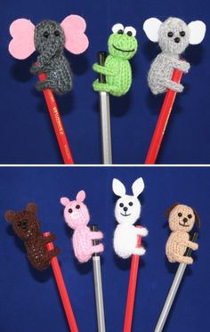 Knitting Pattern for Animal Pencil Toppers- Elephant, frog, rabbit, dog, teddy bear, koala and pig pencil toppers but with different coloured bodies and ear shapes you can make any animal you want. Knit flat on straight needles. About 6 1/2cm (2 1/2″) tall. Designed by Kookla Creations who allows the selling of finished items.