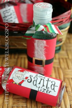 cheap gift ! Just get some hand sanitizer print out a little Santa suit wrap around had sanitizer and tape ! Then print out a little card saying hand santa-izer lol AWWWESOMMMMEE.....