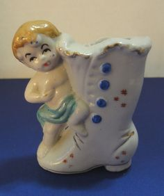 Sweet Little Cherub On A Boot Vintage Porcelain Figurine Made in Japan