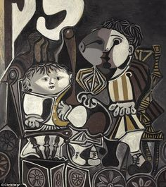 Picasso, Pablo - 1950 Claude and Paloma .Pablo Ruiz y Picasso… Kunst Picasso, Art Picasso, Picasso Drawing, Picasso Paintings, Picasso Prints, Oil Painting On Canvas, Painting & Drawing, Cubist Movement, Collage