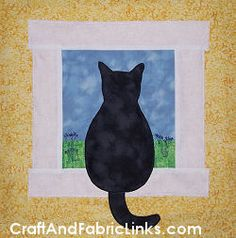 Adorable cat applique pattern for wall or quilt block.