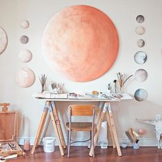 "the evolution of a planet:  Abiquiu Mars, watercolor on wood, 47"" diameter round"