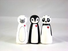 Lil' Critter Love - Hand Painted Wood Peg Doll Animals