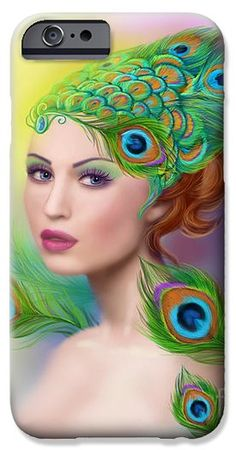 Beautiful woman Peacock iPhone 6 Case