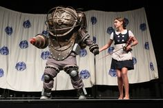 AMAZING DIY (homemade) Bioshock costume with lights, sound and a moving drill (!!!!) at DRAGON*CON 2013