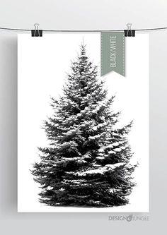 Dennenboom poster - zwart/wit