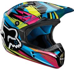 Fox Racing V1 Undertow Helmet Green/Blue/Pink 2012 motorcycle,atv,motocross | eBay