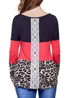 #rotita.com - #unsigned Long Sleeve Lace Panel Red T Shirt - AdoreWe.com