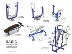Basic Outdoor Fitness Package- Everyone knows exercise benefits one's health. How about doing those exercises outdoors?  The Basic Fitness Package is a smaller grouping of select top-quality, commercial-grade exercise pieces designed for outdoor elements for city parks, fitness trails, campuses, apartments, and more.