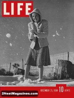 Life Magazine December 25, 1939 : Cover - Merry Christmas, Snowball fight with Katharine Aldridge.